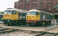 47568_56049_BRELCrewe (chrisbe71) Tags: 47468 d1594 56049 br brel brush spoon duff grid crewe class47 class56 type4 type5 brushtype4 rustonpaxman sulzer brelcrewe creweworks brelcreweworksopenday britishrail brblue largelogo brlargelogo railfreightgrey brelcreweworksopenday1987
