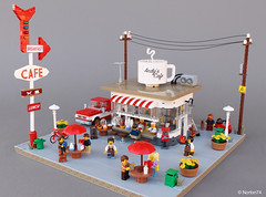 Coffee Stand | Andy's Cafe (Andrea Lattanzio) Tags: coffee stand vintage minifig norton74 lego drink kiosk foitsop cup black street food