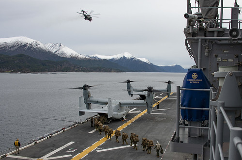 Marines Board MV-22B Osprey on USS Iwo Jima (LHD 7)