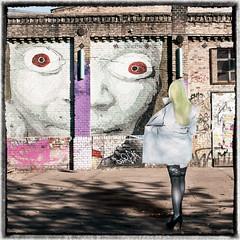Eye Catcher (JuliSonne) Tags: streetart urbanekunst mauer wall graffiti colors scene urban pasteup stencil street berlin rawgelände gnob bigeyes