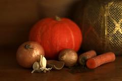 Pumpkin soup (eleni m) Tags: pumpkin stilllife onions garlic carrots spices cupboard lantern indoor orange dof bokeh soup food autumn