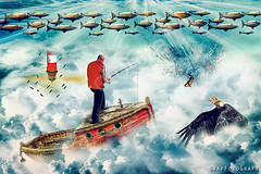Surreal Spheres (Brigitte Graf) Tags: surreal sky sea fisherman fish eagle blue abstract fischschwarm himmel meer lighthouse leuchtturm photo manipulation composing photoshop fine art digital creative fotomontage red yellow