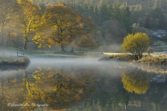 Valley In The Mist (jeanette_lea) Tags: landscape united kingdom river brathay elterwater the lake district cumbria sunrise dawn light autumn colours mist frost reflections trees grass water