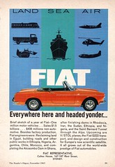 1965 Fiat Industries International Original Magazine Advertisement (Darren Marlow) Tags: 1 5 6 9 19 65 1965 f fiat industries b boat s ship a air craft airoplane automobile v vehicle i italy italian e european europe 60s