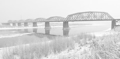Komsomolsky bridge, Novosibirsk (StanNSK) Tags: blackwhite monochrome bridge river winter fog snow snowfall ice konica hexanon ar 28 35 konicahexanonar2835