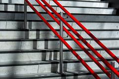 Stairs and red handrails (Jan van der Wolf) Tags: map187173v staircase stairway stairs trap trappen treden steps herhaling handrail leiden leuning station red redrule rood lijnen lijnenspel interplayoflines playoflines shadows shadowplay