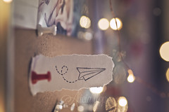 Paper plane (Ali Llop) Tags: cork board information note message paper white pin announce corkboard notes red office color pinned colorful airplane drawing plane aircraft air origami concept abstract