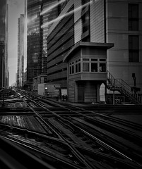 "The ""L"" (Ray Mines Photography) Tags: ngc chicago l tracks city street high rise steel travel"