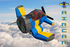 Air Car (David Roberts 01341) Tags: lego airplane aeroplane aircraft twoseat flying minfigure future scifi blue yellow skyfi dieselpunk