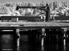 Florence - Infrared (JSB PHOTOGRAPHS) Tags: dsc621100001 infrared infraredconvertedcamera florence oldtown dock bay oregon oregoncoast blackandwhite nikon d70 moes restaurant 720nm northpacificcrane