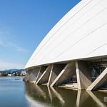 Amazingly, this stadium is made of wood. 驚くべきなかれ。なんと木造です。地上3mほどの下地の部分はRCですが、そこから上は全部秋田杉です。外形は178x157m。