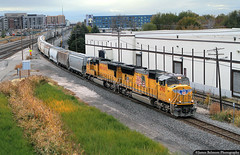 On the Road to Pocatello (jamesbelmont) Tags: saltlakecity utah mropc unionpacific emd sd70m warehouse railway