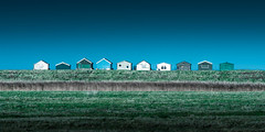 Blue and Green (Nathan J Hammonds) Tags: seasalter kent coast beach hut huts green blue colour minimal simple different nikon d750 lee filters 10stop uk