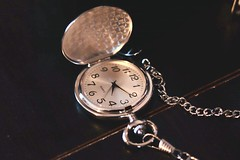 Yesteryears (Haytham M.) Tags: t7i canon40mm mahogany desk chest indoor nostalgia bygone years days hours minutes seconds clock silver vest chain pocket watch time classic yesteryears yesterday's