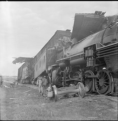 SMDR Photographic Negatives Collection, [1950s][Hiway 81 - train wrecks] (San Marcos Daily Record Negatives) Tags: trains accidents men