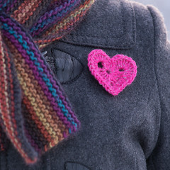 Reflective heart pin (Winterbound) Tags: knitting handknitted handmade crochet reflective reflector