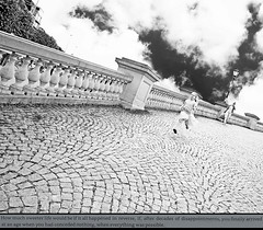 The Age of Miracles (kirstiecat) Tags: belgium antwerp girl running clouds sky cobblestones kid child daughter fast literature novel theageofmiracles diptych karenthomsponwalker europe read book monochrome monochromemonday noiretblanc blackandwhite street world canon words