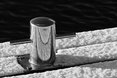 Reflections (evisdotter) Tags: reflections speglingar snow snö winter light jetty pollare bollard water bw blackwhite sooc