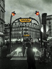 Métro Crimée (marc.barrot) Tags: hectorguimard streetphotography selectivecolours underground métro france paris 75019 ruedeflandre métrocrimée shotoniphone