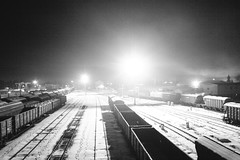 Steps in the night (Alexander Oleynik) Tags: railway snow winter night wagons lantern дорога зима ночь станция херсон