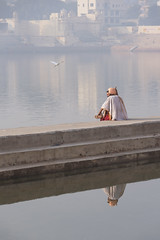 0895 Morning Contemplation (Hrvoje Simich - gaZZda) Tags: outdoors landscape people man morning haze water reflections contemplation peace pushkar india indian travel asia nikon nikond750 sigma150500563 gazzda hrvojesimich