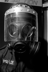 """YK98-2 Police Protective Suit (hoffman) Tags: 1984 exhibition equipment police copex protectivesuit advanced davidhoffman wwwhoffmanphotoscom davidhoffmanphotolibrary socialissues reportage stockphotos""""stock photostock photography"""" stockphotographs""""documentarywwwhoffmanphotoscom copyright"""