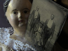 Tintype & Peacham Vermont Doll from Kate (1860) & Sarah (1863) Harriman. Kate sold the doll in 1937, the year Sarah died. Parents & husbands were farmers. Kate - librarian. Sarah - teacher. Their brother fought in the civil war, at the age of fifteen. (leaf whispers) Tags: kateharriman peacham antique doll papiermâché papermache mssuperior browneyes greiner forsale buy alloriginal müllerstrassburger americana folkart shoulderhead germany woman girl lady primitive provenance turrellharriman dollwithprovenance turrellelkinsharriman katehutchinson browneyed tintype ferrotype man men african american gentleman 1800 19thcentury victorian avisrobinson eugenerobinson collection photo photograph photographie black bowlerhat walkingstick bowler hat three two 3 2 clockworkorange blackamericana posingstand headrest