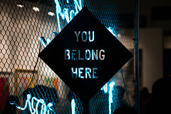 You Belong Here - L.A. Art Show (ChrisGoldNY) Tags: losangeles la california iphone bookcover albumcover licensing forsale chrisgoldphoto chrisgoldberg chrisgoldny sonyimages sonya7rii sonyalpha laartshow dtla angeleno art artshow exhibit exhibits neon signs installations exhibitions chainlink fences light blue black
