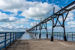 Wet Walk to the Light (mjhedge) Tags: stjoseph puremichigan michigan lighthouse catwalk lake water sky clouds lakemichigan sony a7riii 24105 24105mmf4g 24105mm fe24105f4