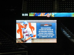 Citi Field, 09/26/18 (NYM v ATL): graphic informing the fans that Jacob deGrom has allowed 3 runs or less in 29 straight starts, tying the record for the longest such streak in MLB history (IMG_3708a) (Gary Dunaier) Tags: baseball stadiums stadia ballparks mets newyorkmets flushing queens newyorkcity queenscounty queensboro queensborough citifield