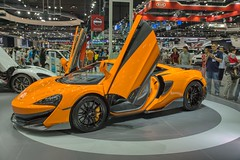 McLaren 570S luxury sports car at the 35th Thailand International Motor Expo at IMPACT Challenger Hall in Muang Thong Thani, Nonthaburi (UweBKK (α 77 on )) Tags: 35 35th thailand international motor expo impact challenger hall muang thong thani nonthaburi bangkok southeast asia sony alpha 77 slt dslr exhibition show fair car auto automobile automotive mclaren 570 570s luxury sports orange wing swing door