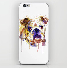 English Bulldog Head iPhone Skin (marianv2014) Tags: englishbulldog bulldogs dog dogs head watercolor watercolour painting portrait animalart pet pets cute beautiful blue yellow purple aquarelle drippingpaint splashes splatters fineart animal animals dogpainting bulldogdecor mammal mammals artgifts affordableart modernart homedecor creatures illustration artwork art whitebackground contemporary zoology single iphone skins
