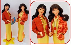 SEEING DOUBLE Part Two (ModBarbieLover) Tags: oriental barbie 1980 twins red yellow brocade makeup asian ethnic doll fashion mattel 1979 cheongsam jacket hair