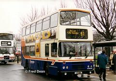 Dublin Bus RH75 (91D1075). (Fred Dean Jnr) Tags: dublinbusroute91 leyland olympian alexander r croad rh75 91d1075 heustonstationdublin february1999 dublinbus dublinbusbluecreamlivery dublin busathacliath mgd dublinheustonstation h764ptw