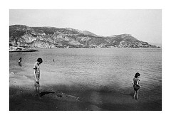 You're a Secret Service man, aren't you? (jean-christophe sartoris) Tags: french riviera sea sun child sartoris summer beach bnw 35mm analog argentique cap ferrat