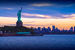 Rear view of Statue of liberty Manhattan New York in background, NYC USA (Patrick Foto ;)) Tags: manhattan america american architecture attraction back background blue building city cityscape dusk ellis evening famous freedom historic history icon independence landmark landmarks landscape liberty monument national new ny nyc outdoor patriotic rear river sculpture sky skyline skyscraper states statue symbol torch tourism tower trade travel united urban usa world york jerseycity newjersey unitedstates us