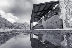 Life...love...sex (BW) (Sean Hartwell Photography) Tags: infrared ir water reflection newcastlewest limerick countylimerick ireland decay abandoned architecture