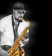 Saxy ... with a touch of color .... (daystar297) Tags: portrait musician music jazz blues sax saxophone horn performer maniputation nikon sunglasses colors
