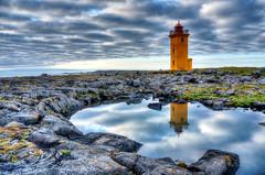 Stafnes (Tjaldur66) Tags: lighthouse sea seashore ocean atlanticocean rocks pond reflection clouds sky iceland reykjanes northerneurope outdoor hdr tonemapping