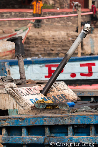 Fishing boat still life with boot