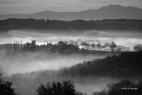 Brumes aux pieds des Pyrénées  en noir et blanc