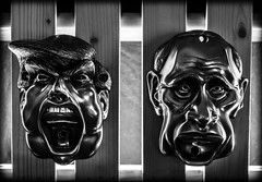 Trump and Putin. . . (CWhatPhotos) Tags: cwhatphotos collection mouth bar photographs photograph pics pictures pic picture image images foto fotos photography artistic that have which contain beerbuddies beer buddies buddie wall mounted bottle opener brass silver finish trump putin presidents president together alcohol alcoholic drinks drink drawers mount face cool attached attach sun olympus 30mm macro omd em5 mk ll bronze resin bw black white mono monochrome vladimir donald vladimirputin donaldtrunp america usa russia flickr