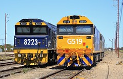 8223 G519 and G530 stabled in Tailem Bend (bukk05) Tags: 8223 railpage:class=51 railpage:loco=8223 rpaunsw82class rpaunsw82class8223 jt42c 82class g519 g530 gclass emd12710g3a emd16645f3b jt26c2ss explore export engine emd electromotivediesel railway railroad railpage rp3 rail railwaystation railwaystations train tracks tamron tamron16300 trains tailembend yard photograph photo pn pacificnational loco locomotive horsepower hp flickr freight diesel station standardgauge sg spring sky australia artc canon60d canon clyde clydeengineering mainline southaustralia southaustralianrailways sar sa 2018 coorongdistrictcouncil world mallee riverlands banker