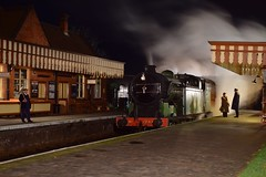 An evening scene at Weybourne Station. North Norfolk Railway - Time Line Events Charter. 21 11 2018 (pnb511) Tags: northnorfolkrailway poppyline heritage preserved railway steam trains sheringham weybourne holt loco locomotive train station canopy people dark night