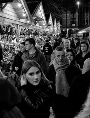 In the Spotlight, Christmas Markets, Albert Square, Manchester (_p_e_r_s_e_p_h_o_n_e_) Tags: manchester manchestertownhall albertsquare christmasmarkets monochrome streetphotography canoneos80d affinityphoto