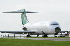 Turkmenistan 717-200 EZ-A107, Kemble (Bristol Airport Spotter) Tags: kemble cotswold airfield airport asi air salvage international airliner airplane jet glos gloucestershire cirencester nikon d7000 turkmenistan boeing 717 200