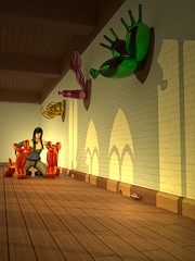 Lady Houghton and her hounds (krapzapper) Tags: krapzapper lady manor animals balloonanimals sunlight humour hunting lodge hall blender cycles 3d daz sexy mouse inflatable