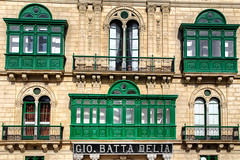 Balconies in Valletta (Siuloon) Tags: architektura architecture architettura malta valletta miasto city color canon building facade old ancient apartments architectural background balcony beautiful bright crusader detail europe exterior green heritage chillax culture 2018 crusades european island getaway gio batta delia historic history holiday jewel mediterranean maltese mark bunting photography medieval ornate rel cityofculture2018 mediterraneanarchitecture