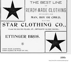 Star clothing   Ettinger Bros.  8 & 10 south Pearl  1890s (albany group archive) Tags: old albany ny photo photos photograph pciture pictures historic hidtorical history vintage union labor