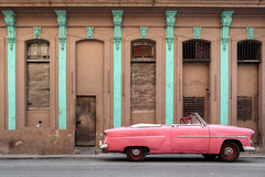 Pink (FX-1988) Tags: car taxi pink cuba architecture facade road american 50s street classic ford 1952 brown